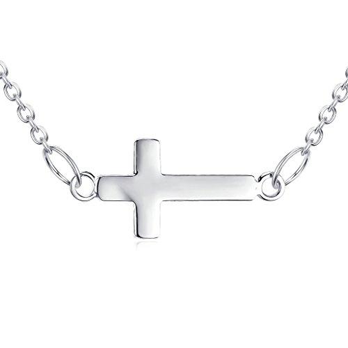 (Small Sideways Cross Necklace 925 Sterling Silver)