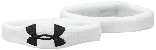 Under Armour Unisex 1/2 Oversized Performance Wristband 2-Pack, White (100)/Black, One Size