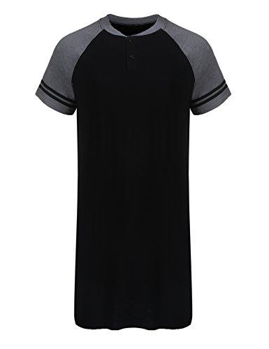 Ekouaer Men's Nightshirt Cotton Nightwear Comfy Big&Tall Short Sleeve HenleySleep Shirt