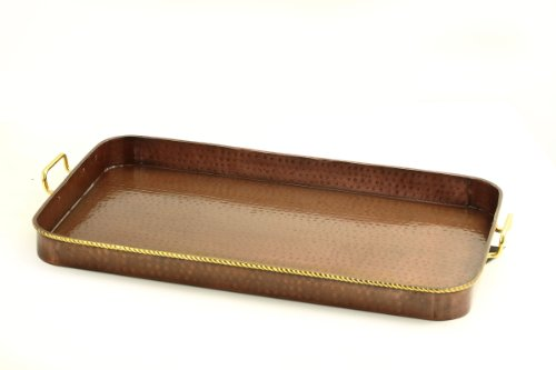 Old Dutch Oblong Antique Copper Tray with Cast Brass Handles, 24