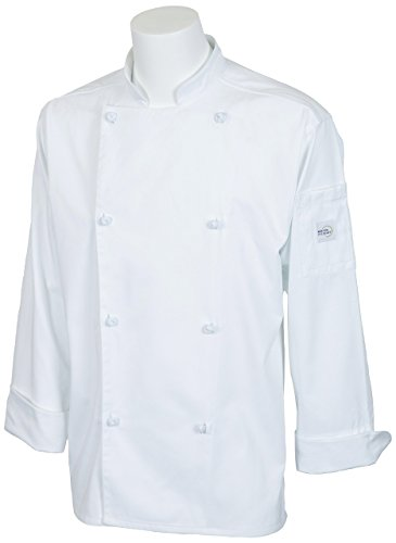 Mercer Culinary M61020WHXS Genesis Men's Jacket with Cloth Knot Buttons, X-Small, White by Mercer Culinary