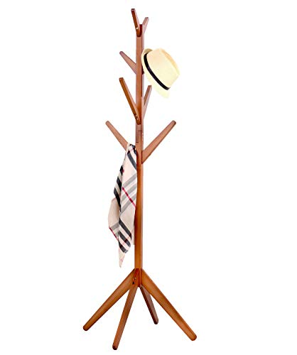 Neasyth Solid Wood Coat Rack Simple Entryway Standing Hall Tree Tetrapod Base for Hat Jacket Coat Hanger Rack in Living Room Bedroom (Teak Color)