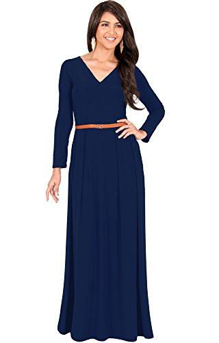 ull Sleeve Sleeves V-Neck Formal Fall Evening Elegant Flowy Empire Waist Modest Vintage Abaya Muslim Gown Gowns Maxi Dress Dresses, Navy Blue L 12-14 (3) (Waist Matte Jersey Dress)