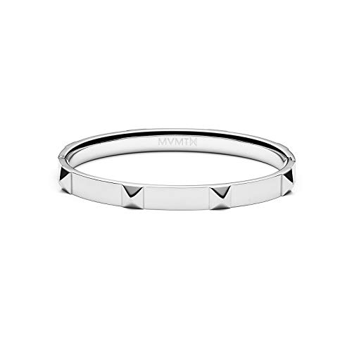 (MVMT Women's Stud Bangle Bracelet | Clasp Closure, Stainless Steel | Silver)