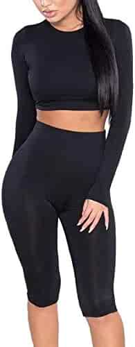 87bbd12c790 Amilia Womens Sexy Long Sleeve Crop Tops High Waist Leggings 2 Piece Bodycon  Set Casual Outfit