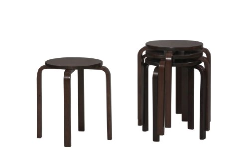 Linon Home Decor Stacking Stool, - Finish Wenge Wood