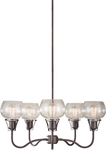 Feiss Urban Renewal Glass Industrial Vintage Chandelier Lighting, Iron, 5-Light 27 Dia x 12 H 500watts
