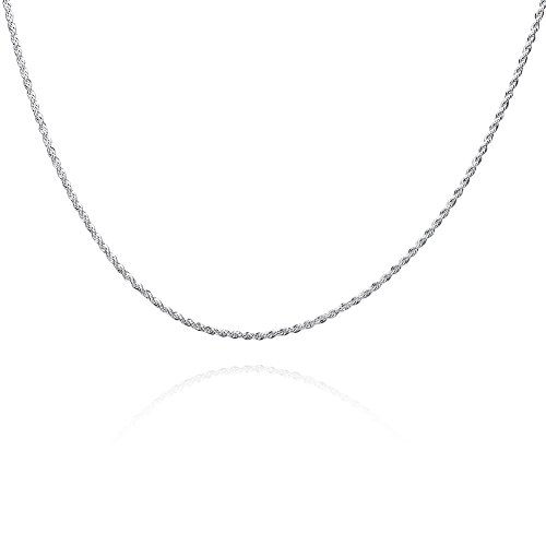Zaoming 2MM Simple Round Silver Plated Twist Rope Necklace for Men Women,Chain 16-28 inches ()
