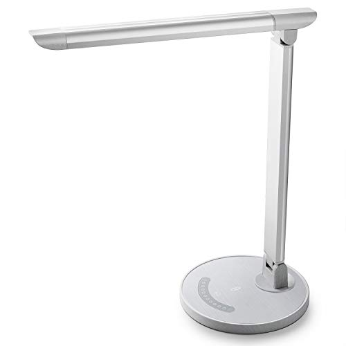TaoTronics White Wood Grain LED Desk, Eye-Caring Table, Dimmable Office Lamp with USB Charging Port, 5 Lighting Modes with 7 Brightness Levels, Touch Control, 12W (Table Base White Lamp)