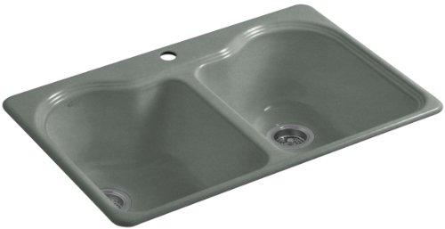 (Kohler K-5818-1-FT Hartland Self-Rimming Kitchen Sink with Single-Hole Faucet Drilling,)