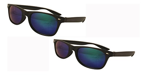 UltraByEasyPeasyStore 2 Pack of Classic Style Adults Sunglasses Black or Clear Frame W/ lens choice UV400 Sunglasses Unisex (2 Black Frame W/ Blue - Glasses Polorised