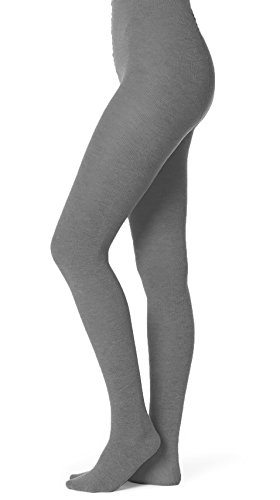 Fashion Ribbed Tights (EMEM Apparel Women's Ladies Junior's Flat Knit Bamboo Cotton Sweater Winter Opaque Footed Tights Hosiery Stockings Grey A)