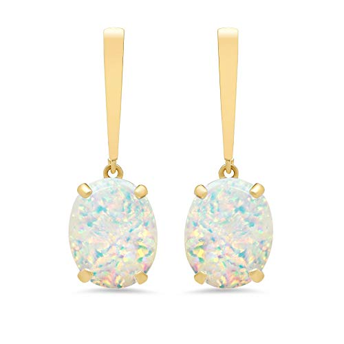 14k Yellow Gold Solitaire Oval-Cut Created Opal Drop Earrings (10x8mm) ()