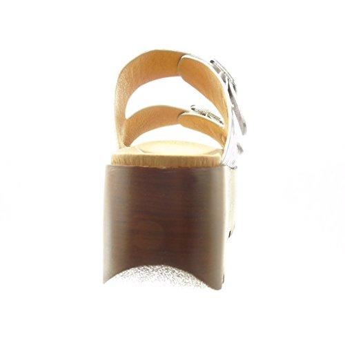 Angkorly Tanga cm 7 Zeppa Fibbia Zoccoli Piattaforma Legno Moda Scarpe Tacco Donna Argento Sandali Zeppe ZfYZqrw
