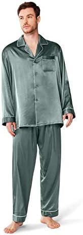 SIORO Mens Silky Satin Pajama Sets-Long Sleeve Pj Set Sleepwear Loungewear Medium-XX-Large