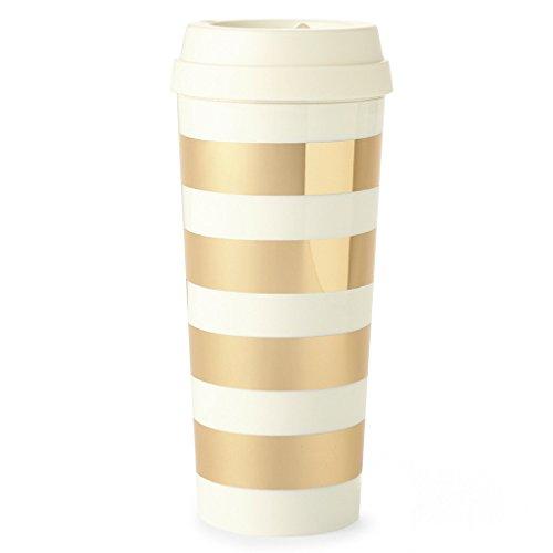 Kate Spade New York Thermal Travel Coffee Mug, 16oz, Gold Stripe