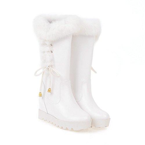 stivali cinghia inferiore dimensioni grandi di scarpe spessa solidi colori VB Breve testa White con rotonda 5ZTcTq
