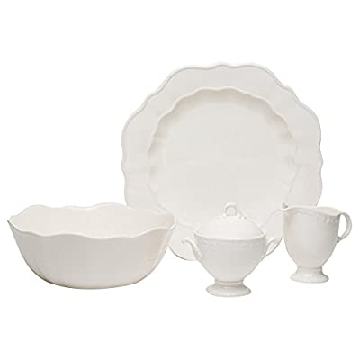 "Red Vanilla FQ900-005 Country Estate 5-Piece Serveware Set, White - (1) Vegetable Bowl 9.5"" 90 oz., (1) Covered Sugar Bowl 12 oz., (1) Creamer 10 oz., (1) Round Platter 13"" Made of Stoneware Dishwasher Safe - kitchen-tabletop, kitchen-dining-room, dinnerware-sets - 31yysghEBLL. SS400  -"