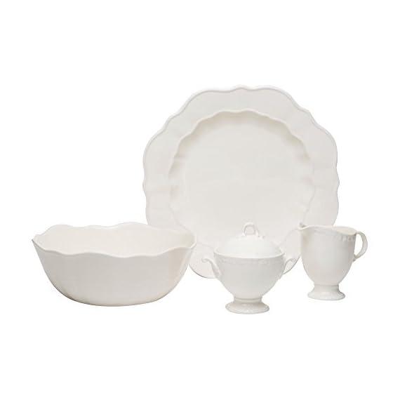 "Red Vanilla FQ900-005 Country Estate 5-Piece Serveware Set, White - (1) Vegetable Bowl 9.5"" 90 oz., (1) Covered Sugar Bowl 12 oz., (1) Creamer 10 oz., (1) Round Platter 13"" Made of Stoneware Dishwasher Safe - kitchen-tabletop, kitchen-dining-room, dinnerware-sets - 31yysghEBLL. SS570  -"
