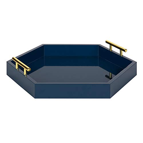Kate and Laurel Lipton Hexagon Decorative Tray with Polished Metal Handles, Navy - Brass Navy Bathroom Mirrors Blue