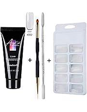 Nail Gel Set UV LED Nail Gel Set Nail Extension Gel Kit Clear Acrylic False Nail Tips Double End Nail Pusher Builder Gel Pen for Quick Nail Extension Salon Nail Tool Kit