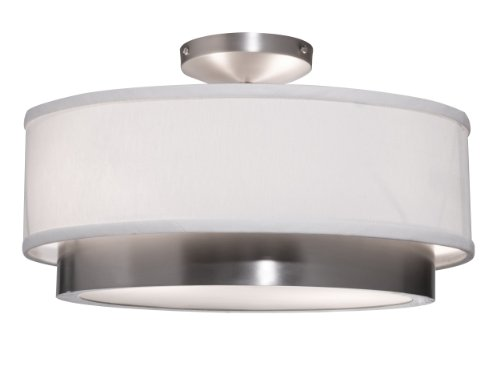Cheap Artcraft Lighting Scandia Semi-Flush Mount Light, Brushed Nickel with White Linen Shade