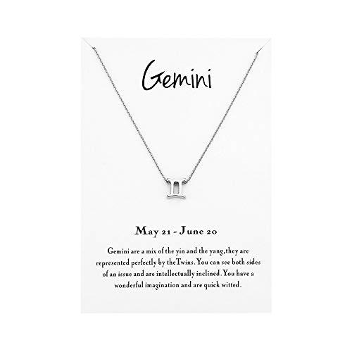 Mocya Gemini Zodiac Necklace Woman Jewelry Horoscope Constellation Pendant Astrology Birthday Gifts