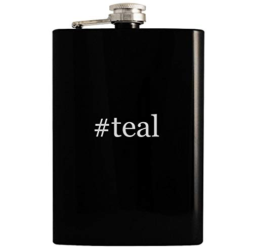 (#teal - 8oz Hashtag Hip Drinking Alcohol Flask, Black)