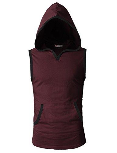 Chest Pocket Lightweight Pullover - H2H Mens Casual Fashion Lightweight Sleeveless Hoodies Vest Tank Top Wine US M/Asia L (CMTTK015)