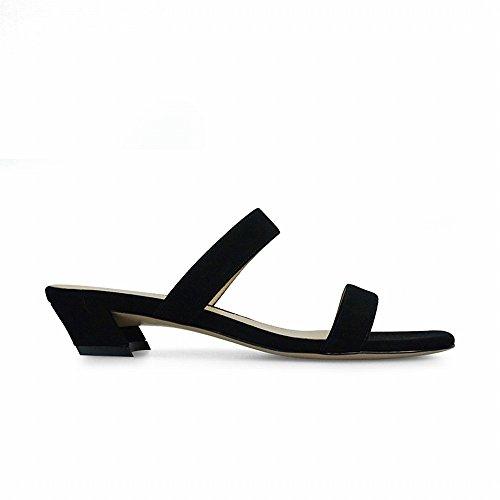 con Palabra Cortos Y de 34 Moda Mujeres de DIDIDD Negro Zapatos Fuera p7nxqtqZW