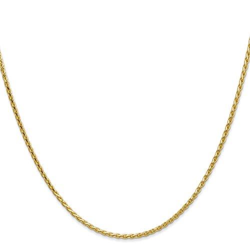 14k Yellow Gold 1.9mm Round Diamond-Cut Wheat Chain Necklace 30
