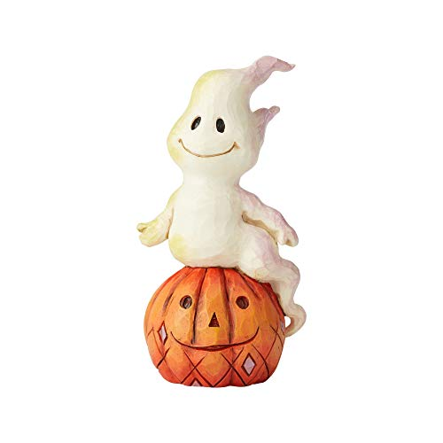 Enesco Jim Shore Heartwood Creek Ghost and Pumpkin Mini