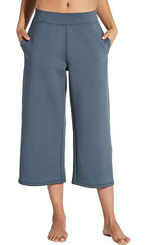 CALIA by Carrie Underwood Women's Limited Edition Lumia Scuba Wide Ankle Cropped Pants (L, Graphite) (Legs Carrie)