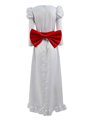 Xiao Maomi Women Long Dress Annabelle Cosplay Costume Horror Scary Horrible Movie White Clothing for Halloween (US Women-XXXL, White)