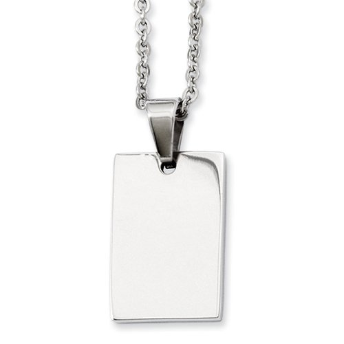 Chisel Stainless Steel Polished Engravable Dog Tag Necklace 18 Inch