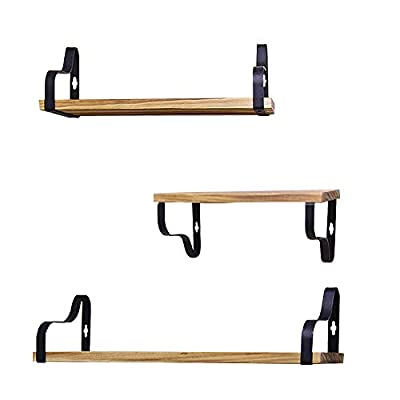 PR PeakRous Bathroom Shelves Set of 3 Wall Mounted Wooden Rustic Farmhouse Floating Shelves for Kitchen Living Room Bedroom Decorative Metal Shelf Brackets - Material: These floating shelves constructed of 100% natural solid wood boards and coated metal brackets, they are not easy to be deformed. Moisture-proof and dust-proof, easy to clean, you only need to clean the surface with wipes Functional Storage Shelves: The solid wood shelves are both decorative and functional. Adding additional storage space , they can display books, photos or plants in the living room, hold beauty products in the bathroom , or organize spices and jars in the kitchen. It will be a good helper in life Specification: Large: 17*4.7*0.6 inches, Medium: 13*4.7*0.6 inches, Small: 9*4.7*0.6 inches. Max Weight Capacity : 40lb. One set has three shelves. Besides, detailed instructions, screwdriver, level, pencil, and other components will be equipped in the package. And pre-drilling holes are on the board, so it will be easy to install - wall-shelves, living-room-furniture, living-room - 31yz1J5reYL. SS400  -