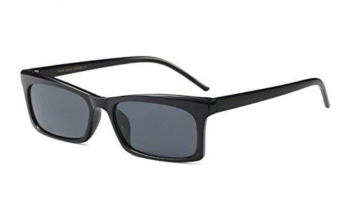 Designer Rectangular Sunglasses for Women Narrow Ultralight Vintage Retro Square (Black, 51)