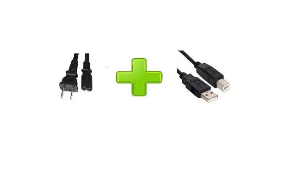 10ft AC Power Cord for Canon PIXMA IP2600 2700 2702 3000 Printer eCool4U 10ft Printer USB Cable