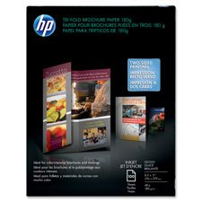"""Tri-Fold Brochure Paper,8-1/2""""""""x11"""""""",48Lb,100 Sheets,WE/Glossy, Sold as 1 Package, 100 Each per Package"""