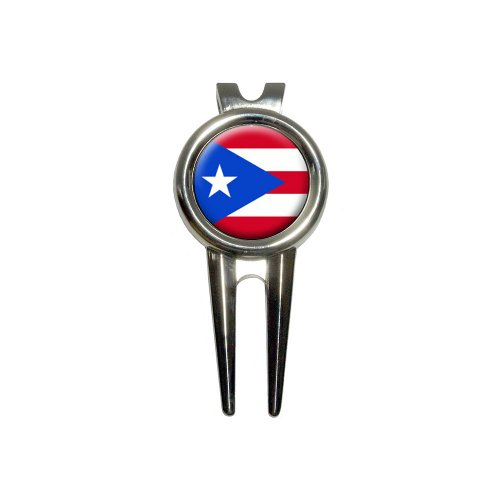 (Puerto Rico Puerto Rican Flag Golf Divot Repair Tool and Ball Marker)
