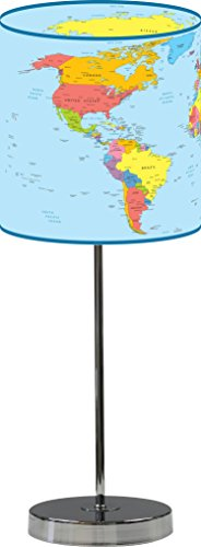 LampPix 10 Inch Custom Printed Table Desk Lamp Shade World Map . Includes Decorative Chrome 15 Inch Stand (World Map Lamp Shade)