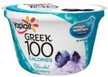 Yoplait Greek 100 Calorie Blended Blueberry Yogurt, 5.3 Ounce -- 12 per case.