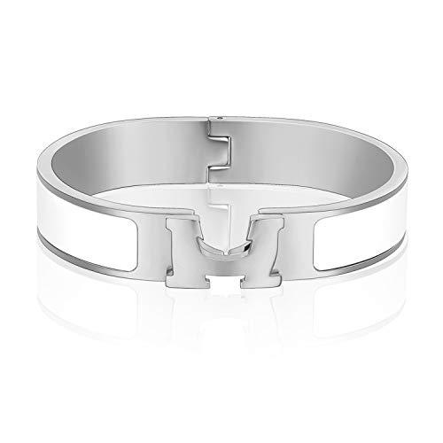Denvosi 12MM H Buckle Bangle Bracelets for Women Man Silver White