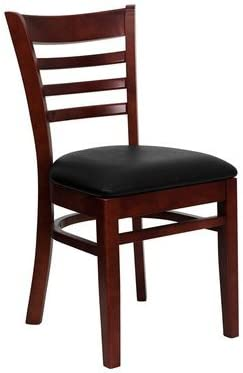 Feromin Corporation Mahogany Ladder Back Restaurant Chair with Black Vinyl Cushion