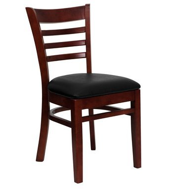 Mahogany Ladder Back Restaurant Chair with Black Vinyl Cushion