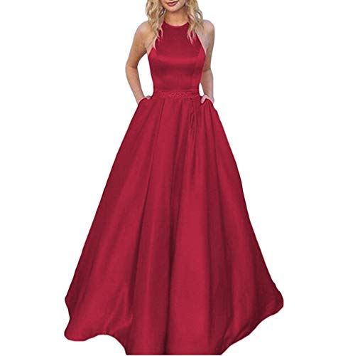 Tsbridal Women's Halter Lace Up Bridesmaid Dresses Long Formal Gown with Pockets Wedding Party Dress Deep Red US 16 - Corset Long Gown