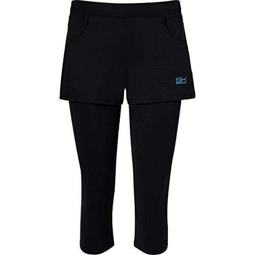Sportkind Shorts avec leggings intégré de tennis / hockey sur gazon / course à pied pour fille et femme en noir tailles 4 ans à XXL