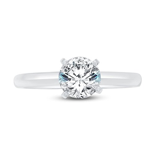 (Size - 5 - Solid 925 Sterling Silver Round Cut Knife Edge Band Solitaire Engagement Ring Highest Quality CZ Cubic Zirconia 1.0ct.)