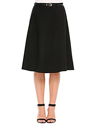 Hufcor Women's High Waist A-Line Flared Long Skirt Winter Fall Midi Skirt(S-XL)