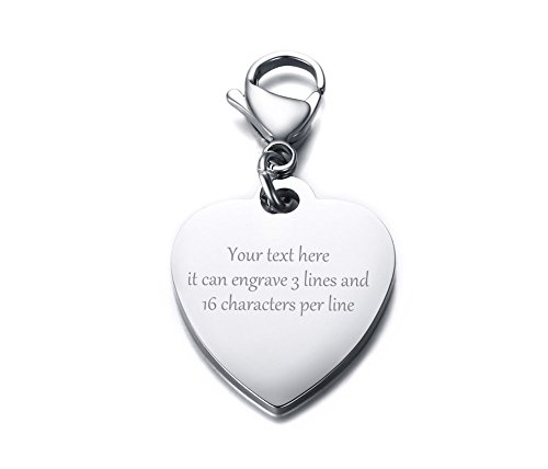 Personalized Keychain Heart (VNOX Free Engraving-Stainless Steel Heart Shape ID Tag Keychain,Charm for Bracelet Handmade Jewelry)